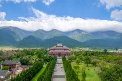 Yutong Avalokitesvara Hall ist eins des Tempels, der in den drei Pagoden von Chongsheng-Tempel nahe Dali Old Town, Yunnan fand Stockfotografie