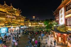 Yuyuan Bazaar in Shanghai at night Stock Photos