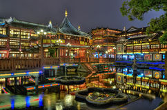 Yuyuan Garden and teahouse in Shanghai. Shanghai Old Tea House in Yu Garden at night Royalty Free Stock Image