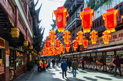 Yuyuan Gardens. Shanghai, Сhina - January 24, 2016: Shanghai, China at Yuyuan Bazaar.Dynasty and the entire complex is a major tourist attraction Stock Photo