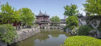 Yuyuan ogród w Szanghaj panoramicznym widoku Zdjęcie Stock