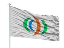 Yuzawa miasta flaga Na Flagpole, Japonia, Akita prefektura, Odizolowywająca Na Białym tle royalty ilustracja