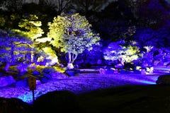 Yuzen trädgård av Chion-i templet under höstaftonbelysningar arkivfoto