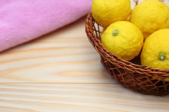 Yuzu in a basket Royalty Free Stock Photography