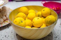 Yuzu lemons in a bowl Royalty Free Stock Photo