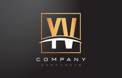 YV Y V Golden Letter Logo Design with Gold Square and Swoosh. Royalty Free Stock Photo