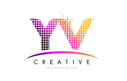 YV Y V Letter Logo Design with Magenta Dots and Swoosh Stock Image