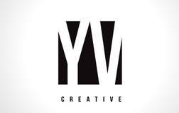 YV Y V White Letter Logo Design with Black Square. Royalty Free Stock Image