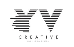 YV Y V Zebra Letter Logo Design with Black and White Stripes Royalty Free Stock Image