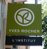 Yves Rocher sign on a wall Royalty Free Stock Image