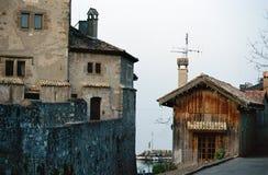 Yvoire中世纪村庄,法国,瑞士人 库存照片