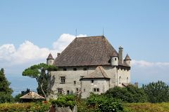 Yvoire城堡  免版税库存照片