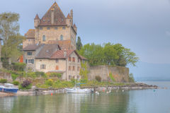 Yvoire castle. Old,stone built medieval castle guarding the harbor in Yvoire, France at lake Geneva Royalty Free Stock Image