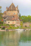 Yvoire castle. Old,stone built medieval castle guarding the harbor in Yvoire, France at lake Geneva Stock Image