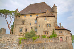 Yvoire castle. Old, medieval stone built castle surrounded by wall in Yvoire at lake Geneva in France Royalty Free Stock Photos