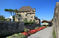 Yvoire castle, France. Famous old castle in Yvoire, Haute-Savoie, France. It is situated in the famous Yvoire medieval village well known for its beautiful Royalty Free Stock Photo