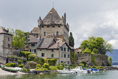 Yvoire Castle and houses stock image