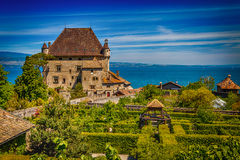 Yvoire et le Jardin des Cinq Sens. Yvoire castle and the Five senses with Leman lake on background Stock Images