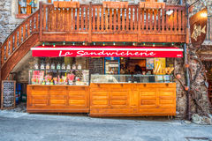 Yvoire, France - Sandwich Stall. Yvoire, France.Sandwich stall in the street at the medieval village, Yvoire, France. Yvoire is famous for its well preserved Royalty Free Stock Photo