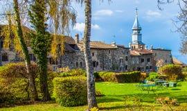 Yvoire, Francia - torretta di chiesa della st Pancras II Fotografie Stock Libere da Diritti