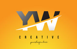 YW Y W Letter Modern Logo Design with Yellow Background and Swoo Royalty Free Stock Photography