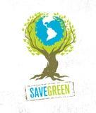 Żywa myśli zieleń Przetwarza Zmniejsza Reuse Eco Wektorowego Plakatowego pojęcie na Grunge Organicznie tle ilustracji