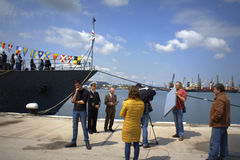 Żywa TV transmisja od portowego Varna, Bułgaria zdjęcie royalty free