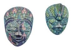 Żywe barwione afrykanin maski, samiec i kobieta, Halloween maski zakończenie up, odizolowywający Obraz Royalty Free