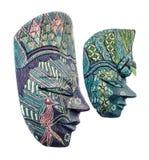 Żywe barwione afrykanin maski, samiec i kobieta, Halloween maski zakończenie up, odizolowywający Zdjęcie Royalty Free