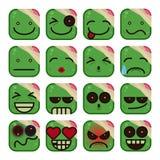 Żywego trupu Emoticon set Zdjęcia Stock