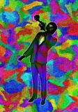 Żywego Wielo- koloru Abstrakcjonistyczna ilustracja Klasyczny Jazzowy Tubowy gracz Zdjęcie Royalty Free