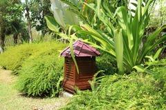 Żywej zieleni tropikalny ogród z czerwoną brązu ogródu lampą, Tajlandia Zdjęcie Stock