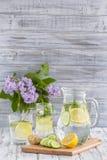 Żywienioniowy detox napój z cytryna soku, imbiru, ogórkowych i nowych liśćmi w jasnej wodzie z lodem, obraz stock