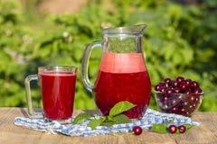 Żywienioniowy detox napój z czerwoną wiśnią w jasnej wodzie z lodem Czereśniowy sok w dzbanku w wiśniach w talerzu i szklanych i  Zdjęcie Stock