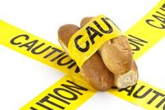 Żywienioniowy ostrzeżenie, gluten lub pszeniczny alergii ostrzeżenie/ zdjęcia stock