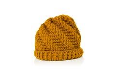 Ywllow hizo punto el sombrero de las lanas Fotografía de archivo