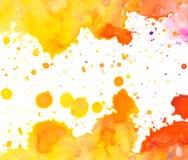 Żywy żółty pomarańczowej czerwieni akwareli tło Zdjęcie Stock