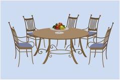 Żywy izbowy meble, krzesła i round stół, ilustracji