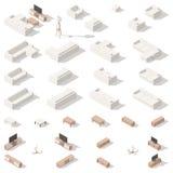 Żywy izbowy niski poli- isometric ikona set Fotografia Royalty Free