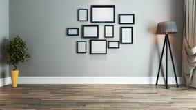 Żywy izbowy wewnętrznego projekta pomysł z fotografii ramą Obrazy Royalty Free