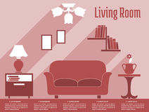 Żywy izbowy wewnętrzny płaski infographic z tekstem Obrazy Stock