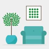Żywy izbowy wewnętrzny projekt ilustracji