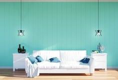 Żywy izbowy wnętrze białej skóry kanapa i zielony ścienny panel z przestrzenią - Fotografia Stock