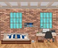 Żywy izbowy wnętrze w modnisia stylu z ściana z cegieł, kanapą, miejscem pracy, boofshelf i okno, Zdjęcia Stock