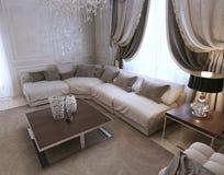 Żywy pokój, art deco projektuje, klasyka styl Fotografia Stock