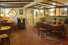 Żywy pokój Houseboat muzeum w Amsterdam Zdjęcia Stock