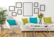 Żywy pokój na ściennych pustych obrazek ramach - Zdjęcia Royalty Free