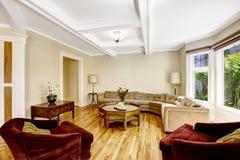 Żywy pokój z coffered podsufitowym systemem Obrazy Royalty Free