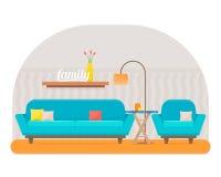 Żywy pokój z meble ilustracja wektor