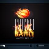 Żywy program telewizyjny z płonącą piłką dla krykiet bitwy Obrazy Royalty Free